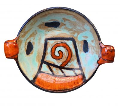 Mid-century retro picasso style studio pottery dish - Antik Seramika vintage and antique pottery