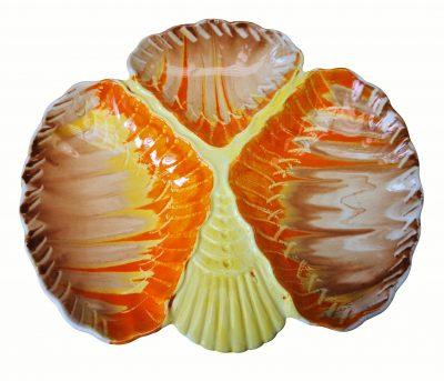 Shelley Harmony Art Deco pottery drip glaze three compartment shell dish