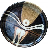 Mid-century abstract retro vintage studio art pottery charger