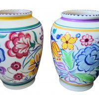 Pair of Retro Poole Pottery hand painted vases