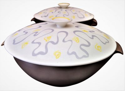 Poole Pottery retro pair of tureens - Ripple pattern by A B Read, mid century Poole Pottery 1960s 1970s