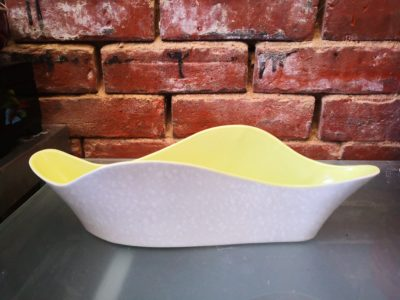 Side view of Poole Pottery mid century retro twin tone undulating planter citrus and dapple grey - retro pottery from Antik Seramika Essex UK