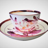 Antique Sunderland Lustre bird cup and saucer
