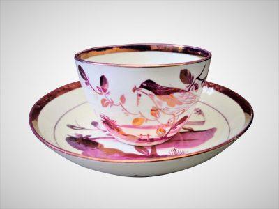 Antique Sunderland Lustre bird cup and saucer at Antik Seramika