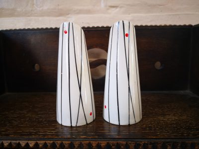 Mid century retro black and white stripe salt and pepper pots