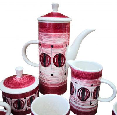 Rye pottery mid-century retro coffee set -mid-century pottery at Antik Seramika Essex UK