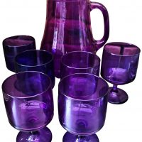 Purple vintage glass lemonade set, jug and six glasses