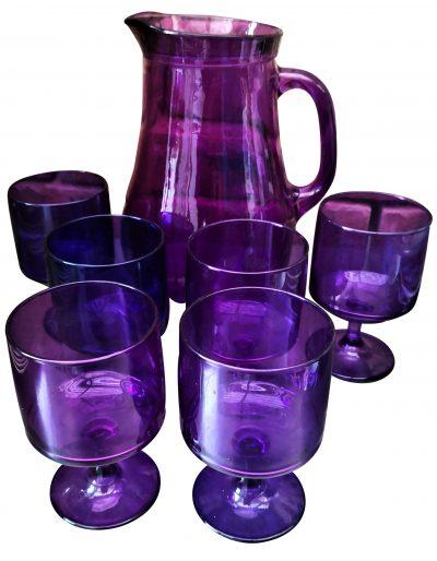 Purple vintage glass lemonade set, jug and six glasses
