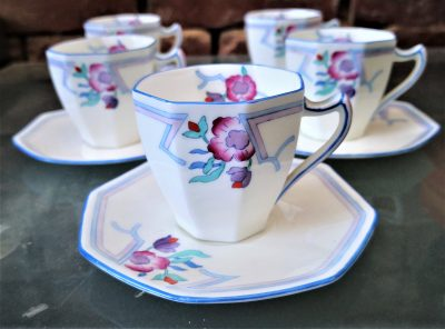Art Deco royal Doulton demi tasse coffee cups and saucers