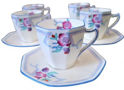 Royal Doulton art deco hand painted demi tasse coffee cups and saucers