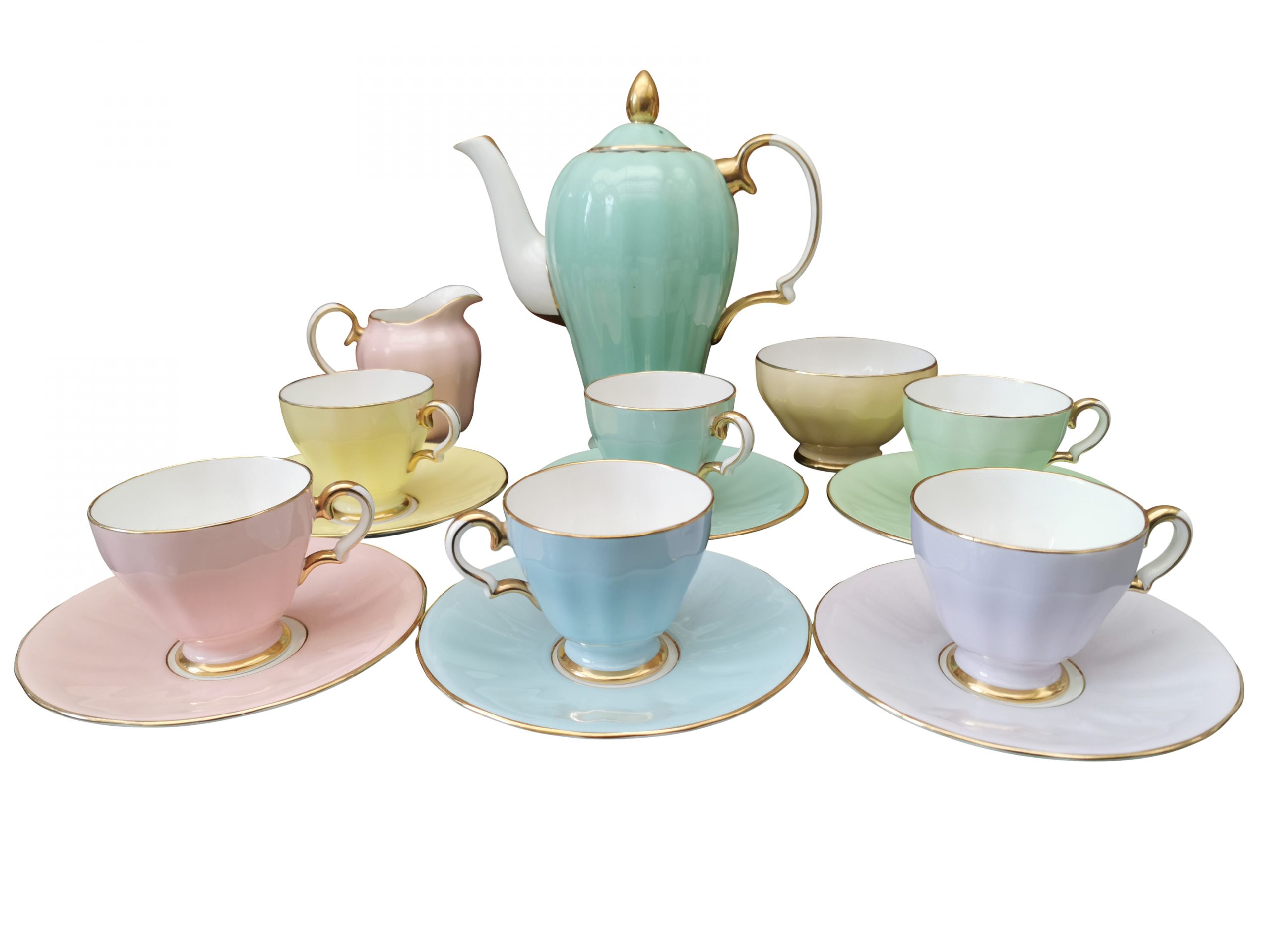 Art Deco Grosvenor China, Jackson and Gosling pastel harlequin coffee set