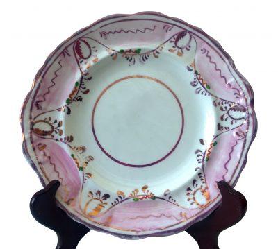 Sunderland lustre antique plate 1850s -antique porcelain at Antik Seramika Essex UK