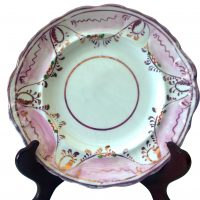 Sunderland lustre antique dessert plate hand painted