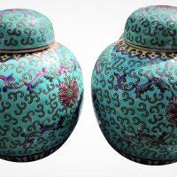 Vintage Chinese Famille Verte ginger jars