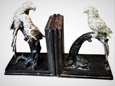 Reproduction antique pair of dark wood bookends with silver parrots - Antik Seramika