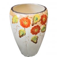 Arthur Wood art deco 1930s vase orange flowers and gilt edge