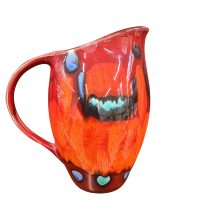Poole Pottery mid-century retro Volcano red jug 1960s 1970s vintage pottery