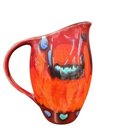 Poole Pottery mid-century retro Volcano red jug 1960s 1970s vintage pottery