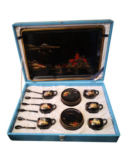 Japanese Lacquerware vintage tea set in case - handpainted teaware at Antik Seramika