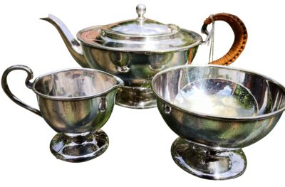John Bishop Chatterley Arts and Crafts silver plate 3 piece tea set