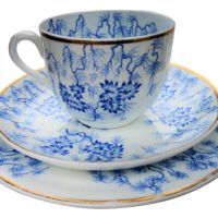 Royal Worcester Antique Porcelain Moss fibre blue and white trio 1830s