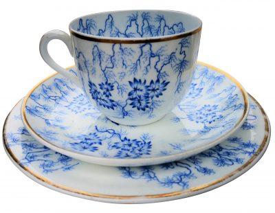 Royal Worcester Antique Porcelain Moss fibre blue and white trio 1830s from Antik Seramika Essex UK