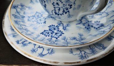 Close up of Royal Worcester Moss Fibre antique porcelain blue and white trio - antique porcelain from Antik Seramika Essex UK