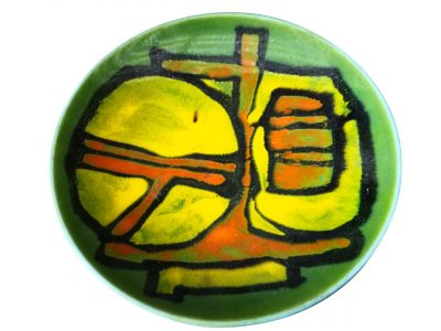Mid-century 1970s retro Poole Pottery Delphis green shallow bowl from Antik Seramika Essex UK