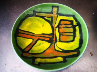 Mid-century 1970s retro Poole Pottery Delphis green shallow bowl from Antik Seramika Essex UK