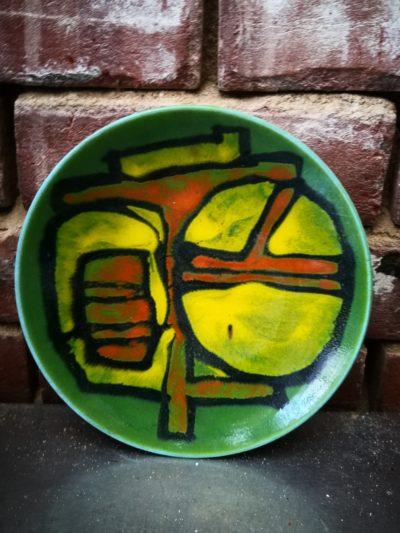 Poole Pottery Delphis retro shape 3 green abstract bowl - Antik Seramika Essex UK