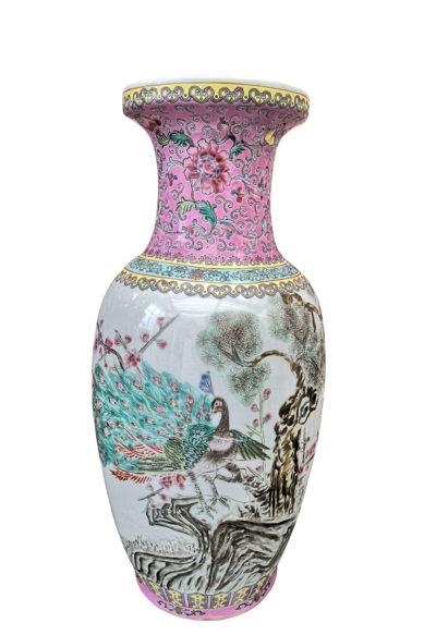 Vintage Chinese porcelain famille verte vase 1960s 1970s