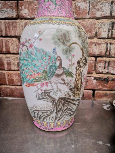 close up of vintage chinese famille verte famille rose large vase from Antik Seramika Essex UK