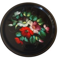Soviet vintage hand painted enamel tray decorated with flowers