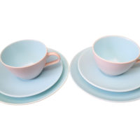 Vintage Poole Pottery retro twin tone trios in turquoise and grey - mid-century pottery from Antik Seramika Essex UK