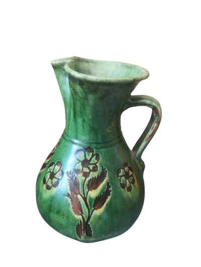 vintage art pottery - Tito Ubeda Scraffito jug in green glaze -Andalusia