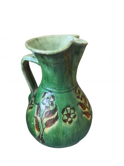 Tito Ubeda Scraffito vintage art pottery green jug from Andalusia - hand made vintage pottery