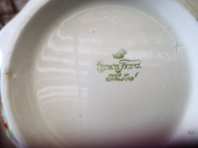backstamp for Art Deco Crownford pottery tureen hand painted with tall trees and flowers from Antik Seramika Essex UK