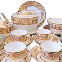Antique Newhall regency gold and white tea set