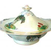 Crownford art deco pottery tureen hand painted with tall trees and flowers - art deco pottery