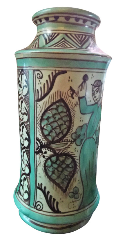Vintage Spanish pottery apothecary jar based on 13th century apothecary jars - from Antik Seramika Essex UK