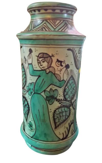 Vintage Spanish pottery apothecary jar based on 13th century apothecary jars