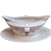 Mid century retro Rosenthal porcelain stylish Madeline gravy boat with fixed plates from Antik Seramika Essex UK