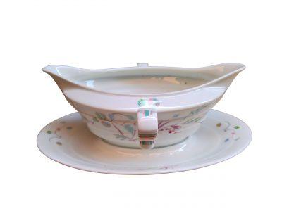 Mid century retro Rosenthal porcelain stylish Madeline gravy boat with fixed plates from Antik Seramika Essex UK