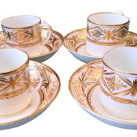 Recency Newhall Antique gold and white coffee cans and saucers