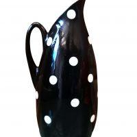 1950s Mid-century black and white Empire retro polka dot flatback jug