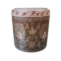 Antique Indian engraved brass pot with pink enamel decoration - Antik Seramika Essex UK