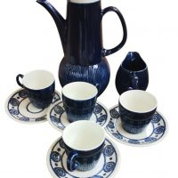 Anchor Caprice Strata 1970s retro mid century blue and white coffee set from Antik Seramika, Essex UK