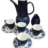 Anchor Caprice Strata 1970s retro mid century blue and white coffee set from Antik Seramika, Essex UK