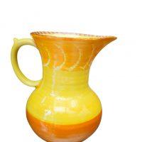 Art Deco Shelley Harmony drip glaze vintage 1930s pottery jug in orange and yellow - Antik Seramika Essex UK