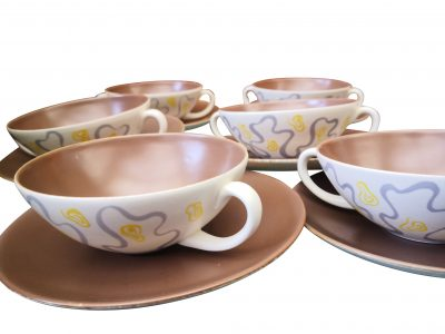 Poole pottery retro mid-century set of six soup coupes Ripple pattern by A B Read from Antik Seramika